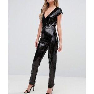 🆕ASOS New Look Sequin Plunge Jumpsuit       <273>